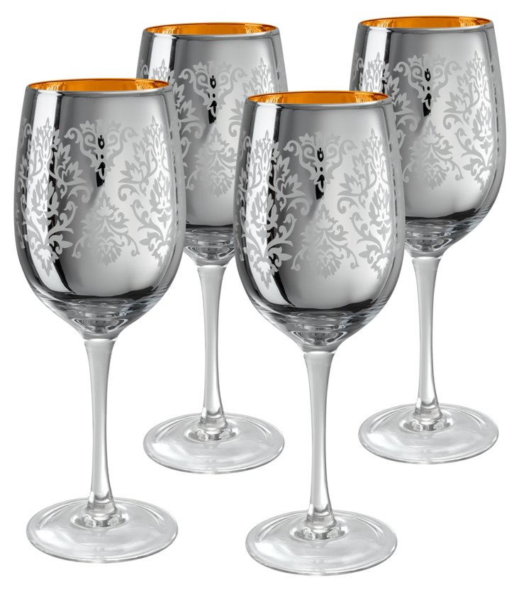 S/4 Brocade Wine Glasses, Silver