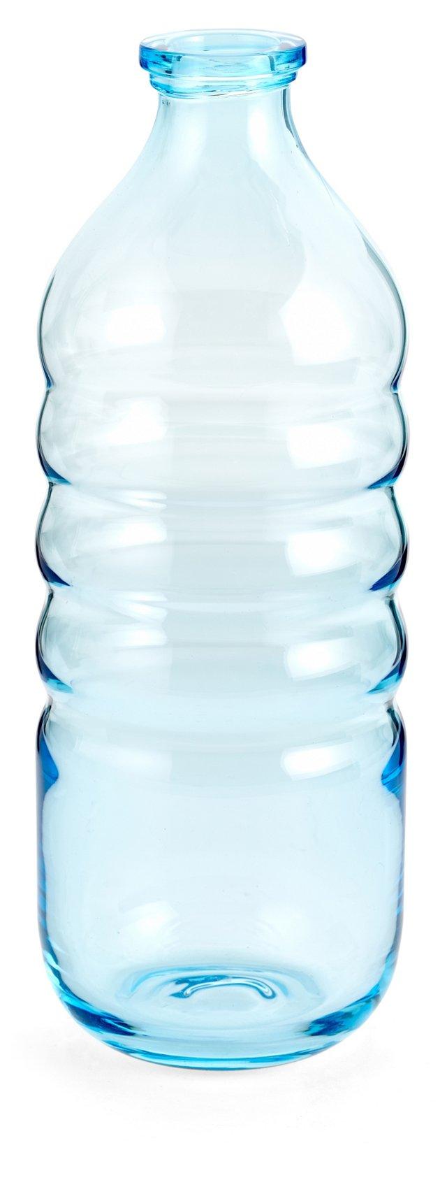 Glass Ribbed Bottle, Aqua