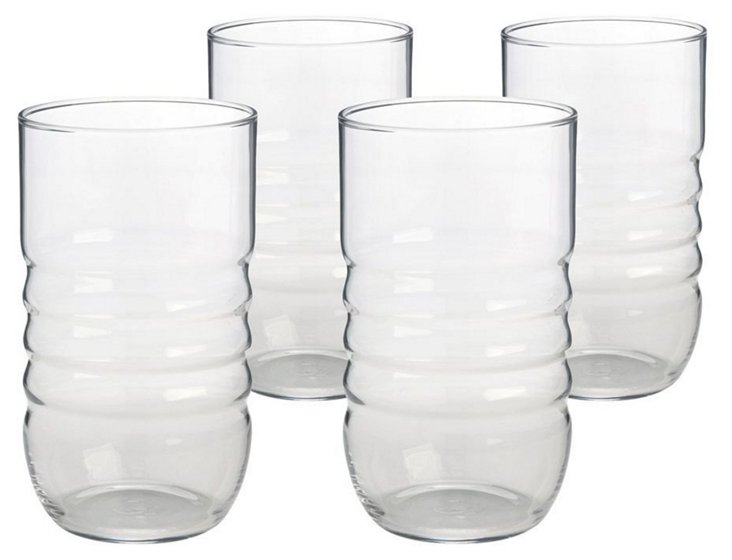 S/4 Ribbed Highball Glasses, Clear