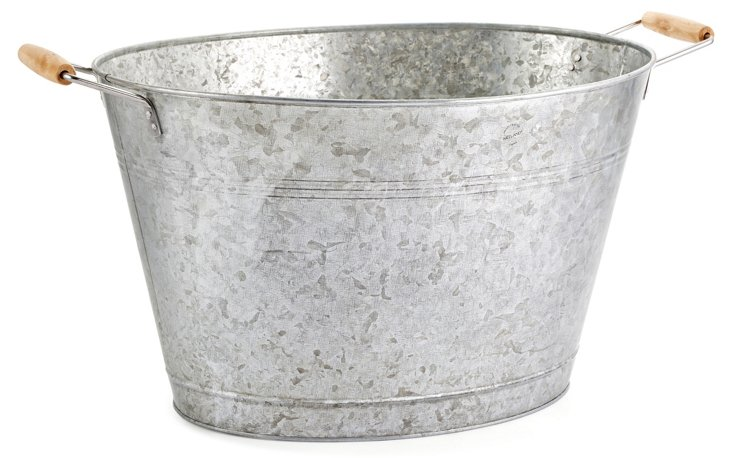 Oasis Party Tub, Galvanized Silver