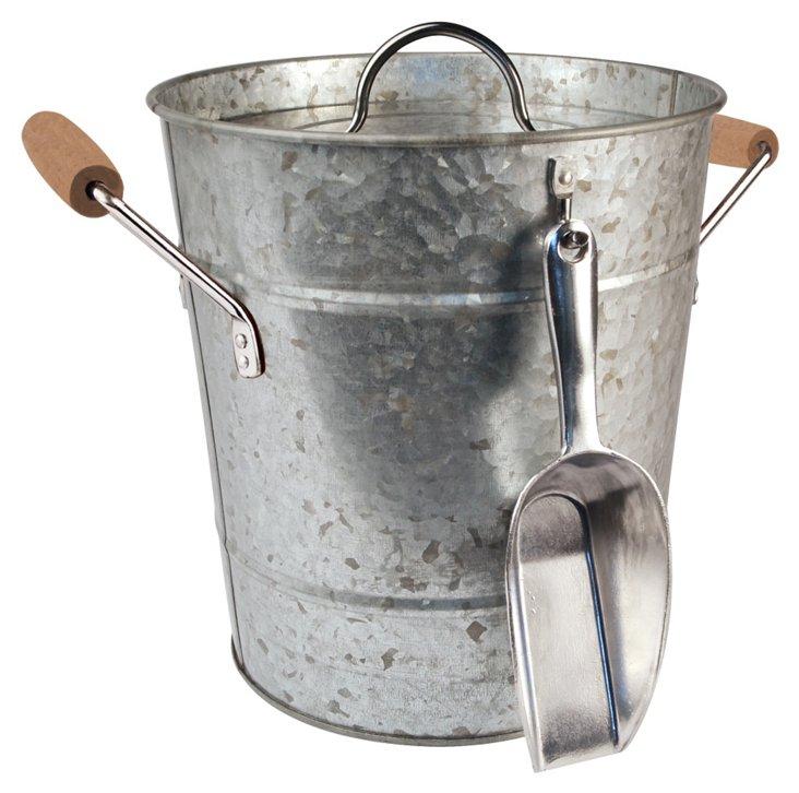 Ice Bucket & Scoop, Galvanized Silver