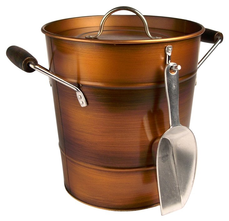 Oasis Ice Bucket, Antiqued Copper