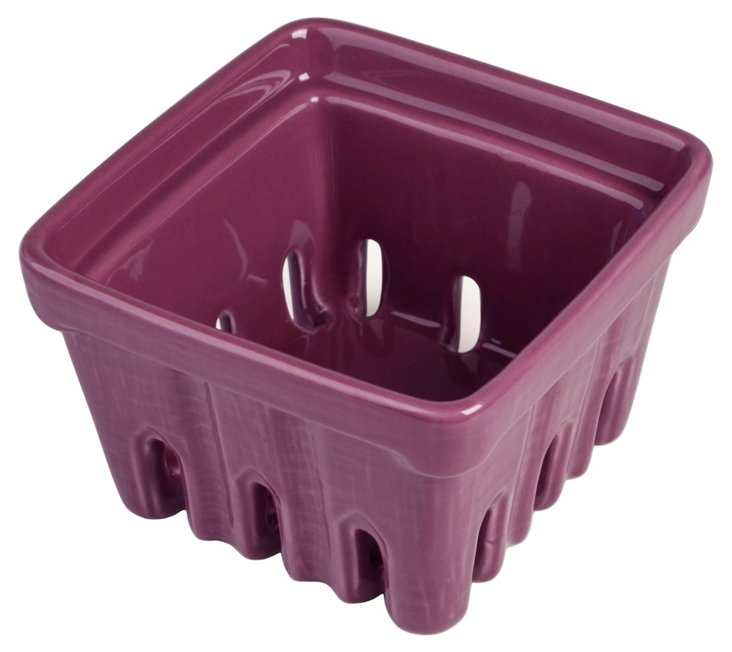 S/2 Ceramic Berry Baskets, Purple