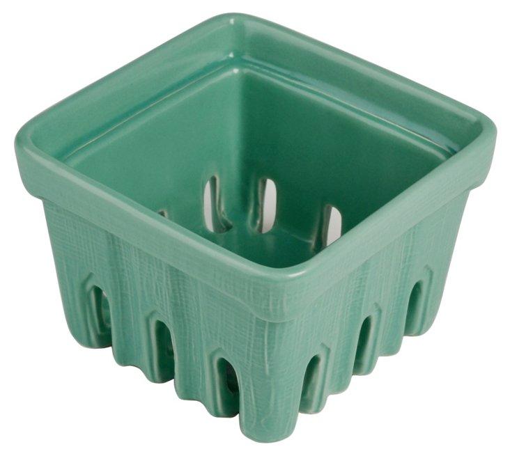 S/2 Ceramic Berry Baskets, Green