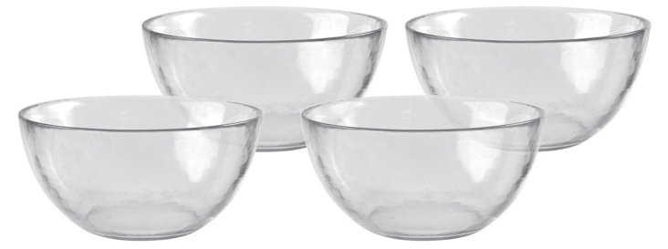 S/4 Colby Cereal Bowls, Clear