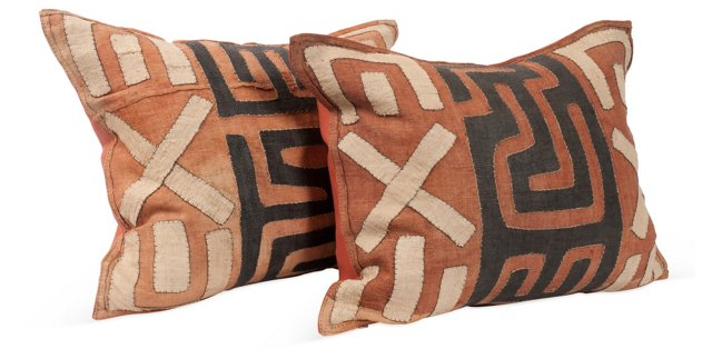 Geometric Kuba Cloth Pillows, Pair I