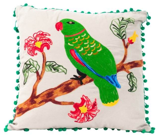 Embroidered Parrot Pillow II