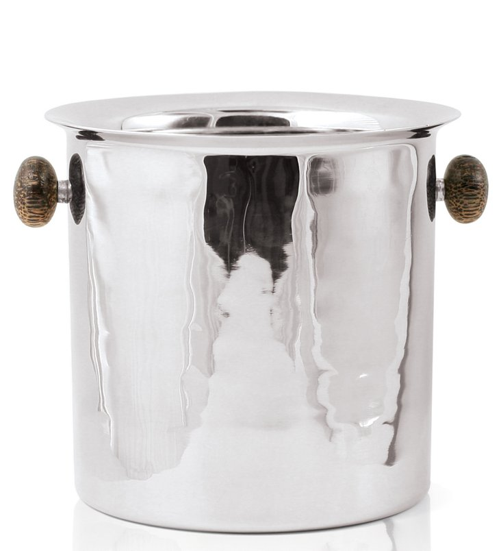 Cole Wine Bucket, Silver/Brown