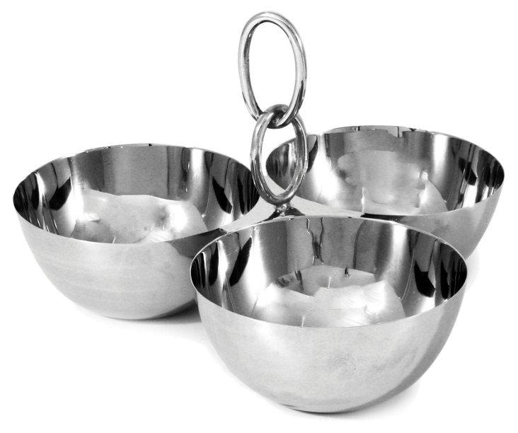 Links Triple Bowl Set, Silver