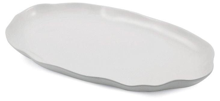 Large Oval Stoneware Platter, White