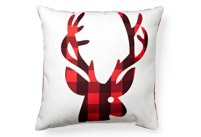 Red Plaid Reindeer 18x18 Pillow