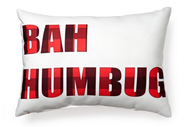 Plaid Bah Humbug 14x20 Pillow, White/Red