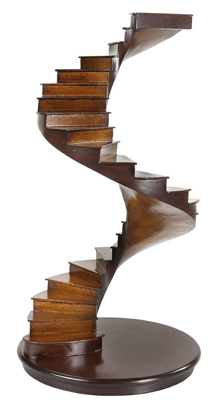 "15"" Wood Spiral Stairs, Brown"