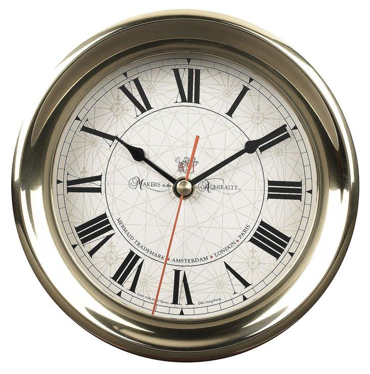 Large Captain's Clock, Brass