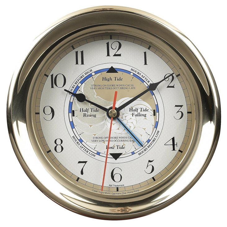 Captain's Time & Tide Clock, Brass