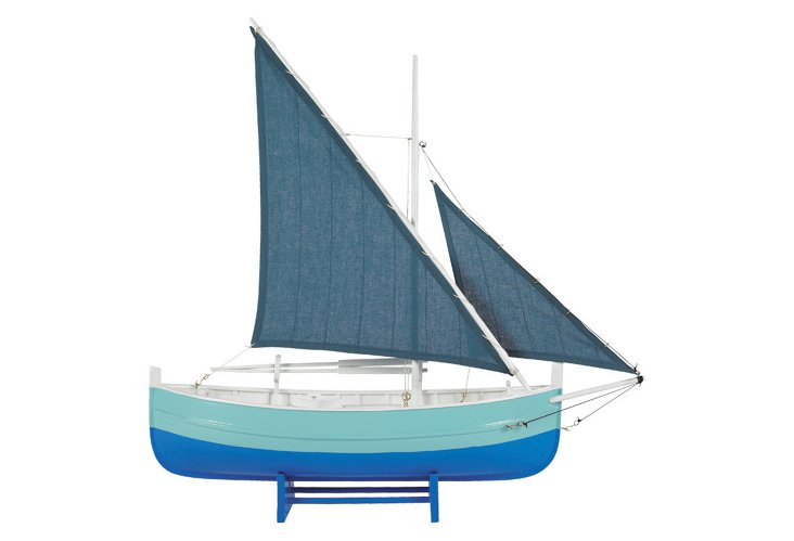 Biscay Fishing Sailboat, Blue