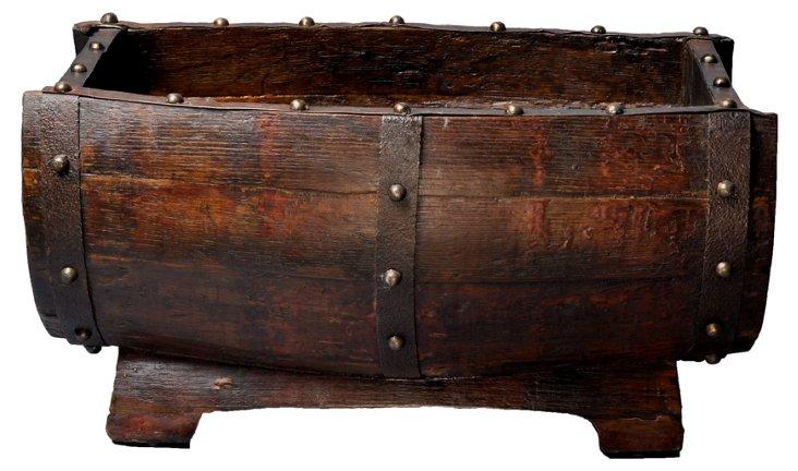 "23"" Wooden Barrel, Dark Brown"