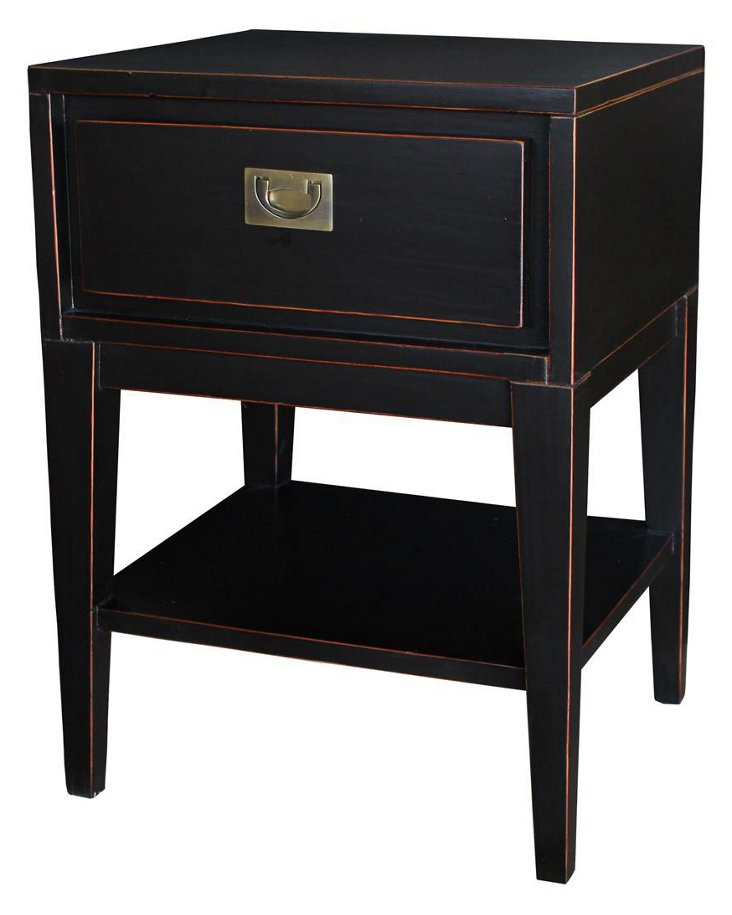 Colbert Lacquer Nightstand, Black