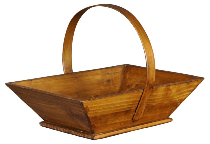 "17"" Wooden Apple Basket, Natural"
