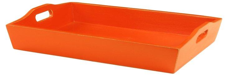 "21"" Wood Ferme Tray, Orange"