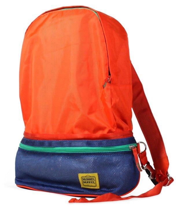 Dubbel Backpack, Orange/Navy