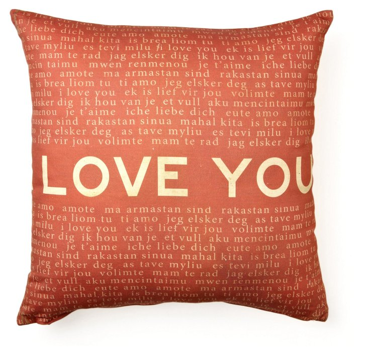 Love You 17x17 Cotton Pillow, Red