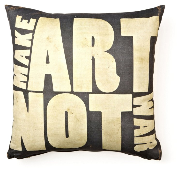 Make Art Not War 17x17 Pillow, Black
