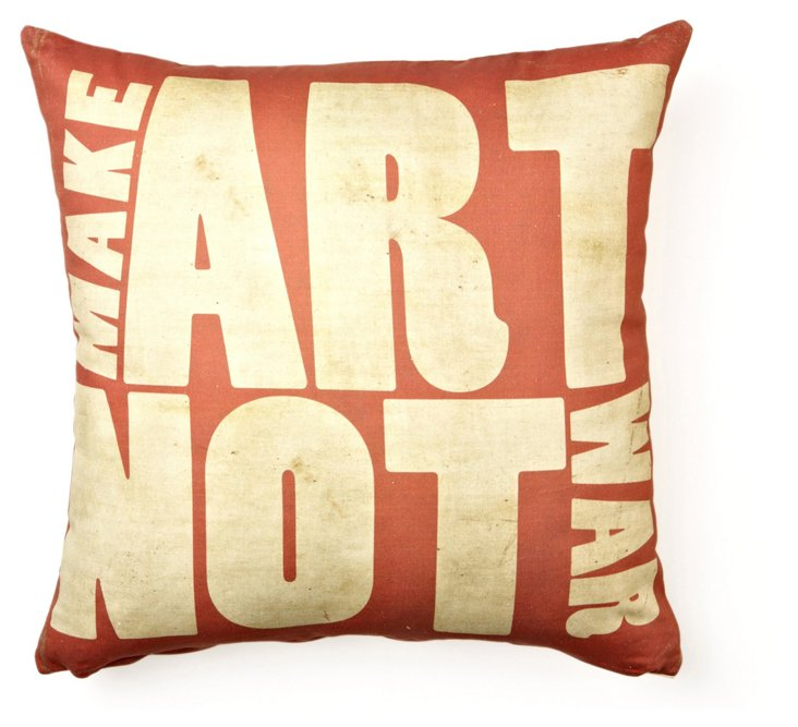 Make Art Not War 17x17 Pillow, Red