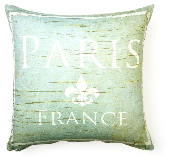 Paris 17x17 Cotton Pillow, Seafoam