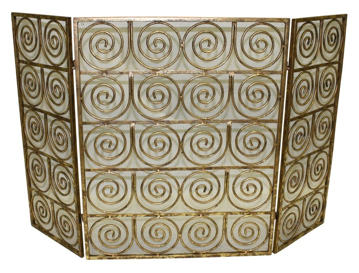 "32"" Spiral Three-Panel Fire Screen, Gold"