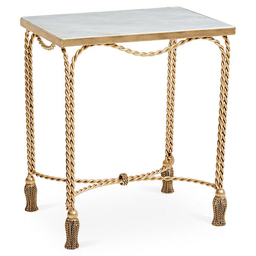 Moira Tassel Side Table, Ivory Marble