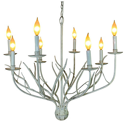 Twig 8-Light Chandelier, Antiqued White