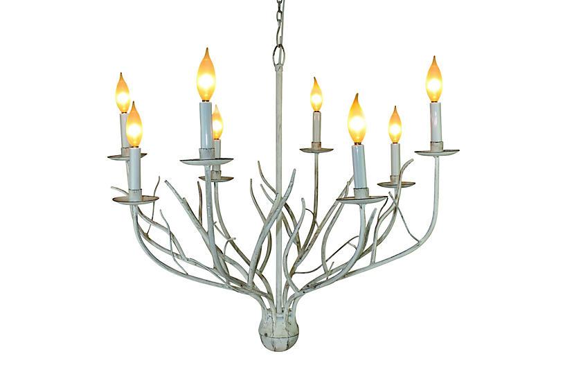 Twig 8-Light Chandelier, Antiqued White