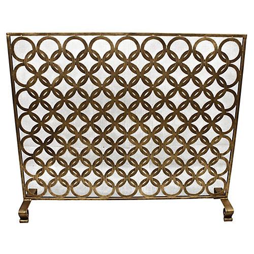 "38"" Ariel Fireplace Screen, Antiqued Gold"