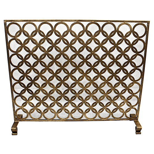 "38"" Ariel Fireplace Screen, Antiqued Gold"