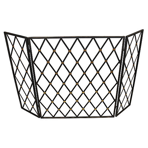 "49"" Lillie Three-Panel Fireplace Screen, Black"