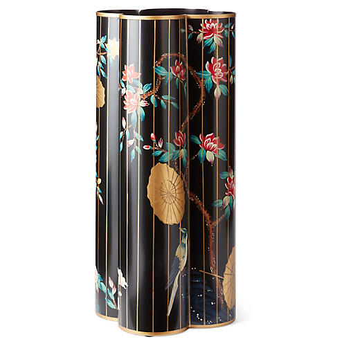 "19"" Chinoiserie Umbrella Stand, Black/Multi"