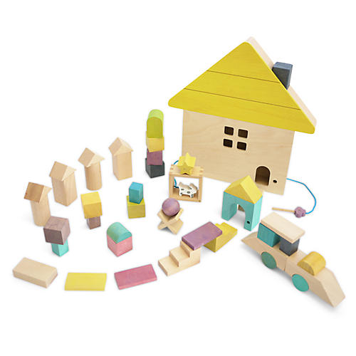 Kids' House Block Set, Tan/Multi