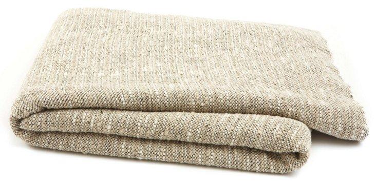 Shingle Linen-Blend Throw, Natural