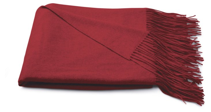 Cashmere Solid Throw, Red