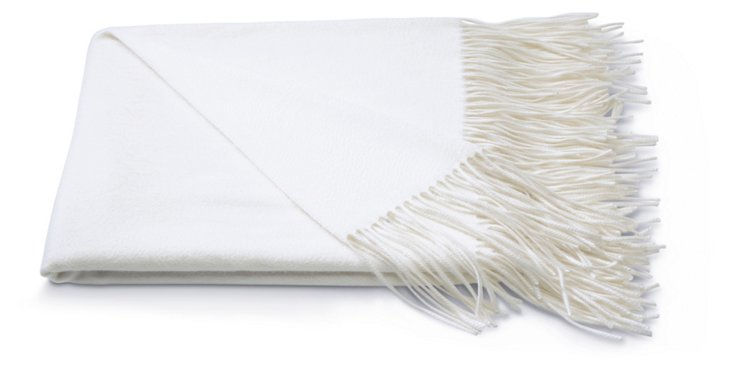 Cashmere Solid Throw, White