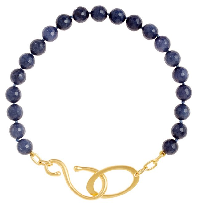 Blue Jade Beaded Hook Necklace
