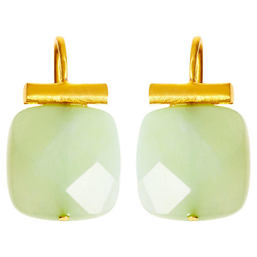 Square Sea Green Quartz Earrings, Sea Green