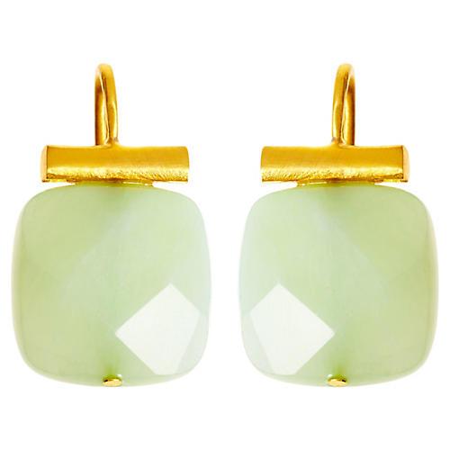 Square Sea Green Quartz Earrings, Sea Green