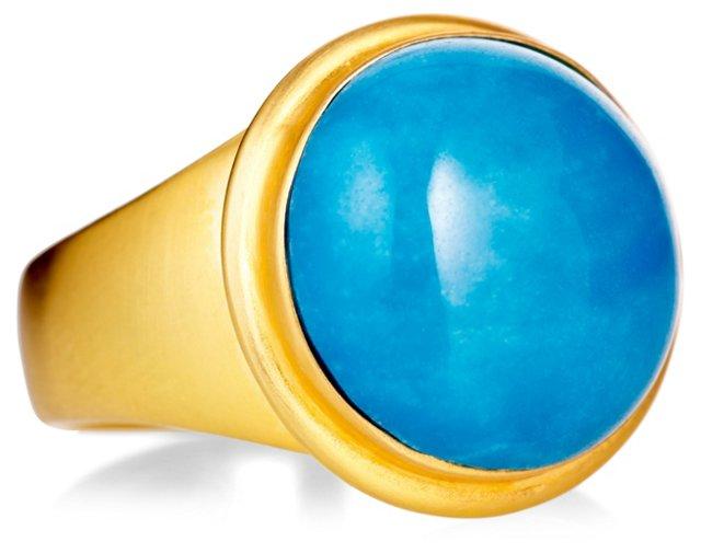 Blue Quartz Signet Ring