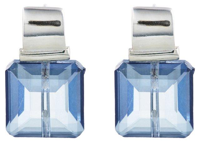 Sterling Silver Blue Crystal Earrings