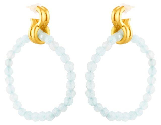 Blue Quartz Double Ring Earrings