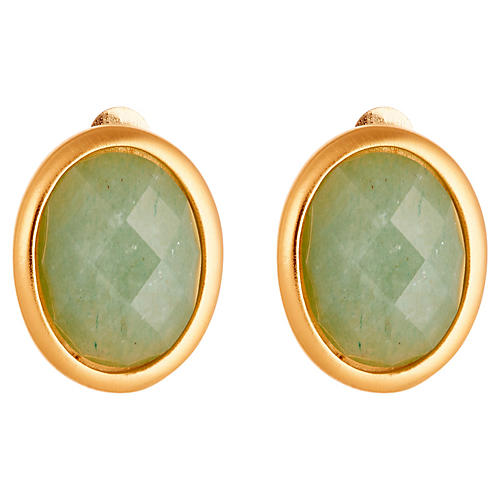 Oval Dani Stud Earrings, Green/Gold