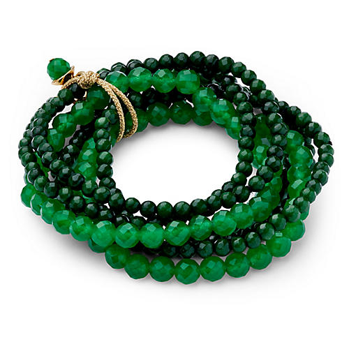 Green Quartz Stretch Bracelet Set, Green Quartz