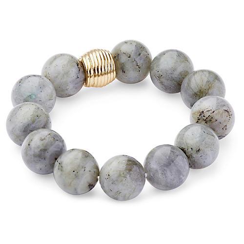 Labradorite Ribbed Stretch Bracelet, Gray